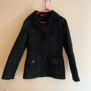 Black Leather Coat Button Down Sherpa Lining M